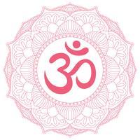 Aum Om Ohm símbolo no ornamento mandala redonda decorativa. vetor