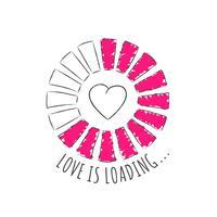Barra redonda do progresso com inscrição - o amor está carregando e a forma do coração no estilo esboçado. Ilustração vetorial para design de t-shirt, cartaz ou cartão de dia dos namorados. vetor