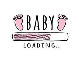 Barra de progresso com inscrição - bebê carregando e garoto pegadas no estilo esboçado. Ilustração vetorial para design de t-shirt, cartaz, cartão, decoração de chá de bebê. vetor