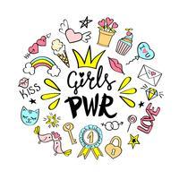 Rotulação do poder das meninas com doodles femininos para o projeto de cartão do dia dos Valentim, cópia do t-shirt da menina, cartazes. Entregue o slogan cômico extravagante tirado do feminismo no estilo dos desenhos animados. vetor