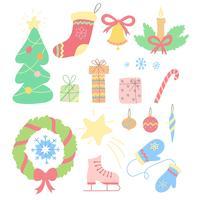 Conjunto de Natal de mão desenhada doodles em estilo simples. Ilustração em vetor colorido