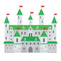 Ilustração do vetor de um castelo no estilo liso. Fortaleza de pedra medieval. O castelo abstrato da fantasia pode ser usado nos livros, no fundo do jogo, no design web, na bandeira, etc.