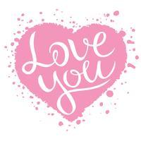 Te amo rotulação em forma de coração rosa, ilustração em vetor confissão amor.