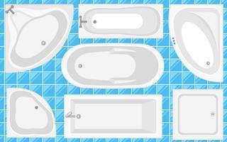 Coleção da opinião superior da banheira. Ilustração do vetor no estilo liso. Conjunto de tipos diferentes de banheiras.