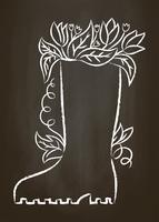 Contorno do giz da bota de borracha com folhas e flores no quadro de giz. Cartaz de jardinagem de tipografia.