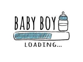 Barra de progresso com inscrição - bebê menino carregando e garrafa de leite em estilo esboçado. Ilustração vetorial para design de t-shirt, cartaz, cartão, decoração de chá de bebê.