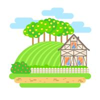 Ilustração de paisagem design plano vetorial. Casa de aldeia com árvores de campo e macieira. Conceito de produtos agrícolas, agrícolas, orgânicos.