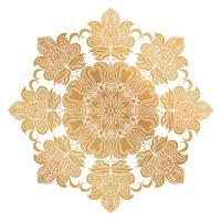 Ornamento de Mandala dourada de vetor. Elementos decorativos vintage. Padrão redondo Oriental. Islã, árabe, indiano, turco, paquistão, chinês, motivos otomanos. Fundo floral desenhado de mão.