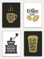 Conjunto de cartões modernos com elementos de café e letras. Modelos de moderno na moda para folhetos, convites, design de menu. Cores pretas, brancas e douradas. Ilustração do vetor de caligrafia moderna.