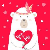 Vector a ilustração do urso bonito dos desenhos animados que guarda o coração e entregue a rotulação escrita você e mim para o cartão dos Valentim, cartazes, t-shirt imprime, cartões. Saudação de dia dos namorados.