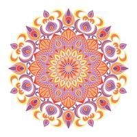 Ornamento de mandala de vetor. Elementos decorativos vintage. Padrão redondo Oriental. Islã, árabe, indiano, turco, paquistão, chinês, motivos otomanos. Fundo floral desenhado de mão.