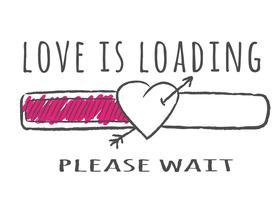 Barra de progresso com inscrição - o amor está carregando e forma de coração com a seta no estilo esboçado. Ilustração vetorial para design de t-shirt, cartaz ou cartão de dia dos namorados. vetor
