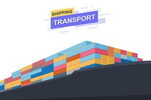 Transporte de transporte. Comércio internacional. Close Up design. Ilustração vetorial
