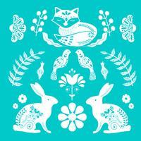 Padrão de arte folclórica escandinava com pequena casa, pássaros e flores