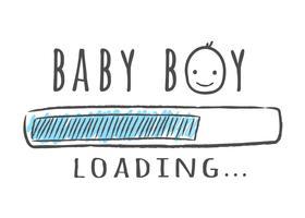 Barra de progresso com inscrição - menino é carregamento e garoto cara no estilo esboçado. Ilustração vetorial para design de t-shirt, cartaz, cartão, decoração de chá de bebê