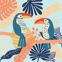 pássaros tropicais Tucano colorido na selva e vetor brilhante