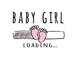 Barra de progresso com inscrição - bebê menina carregando e garoto pegadas no estilo esboçado. Ilustração vetorial para design de t-shirt, cartaz, cartão, decoração de chá de bebê.