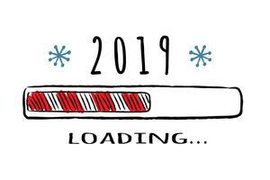 Barra de progresso com inscrição - 2019 carregando no estilo esboçado. Vector natal, ilustração de ano novo para cartão de design, cartaz, saudação ou convite de t-shirt.