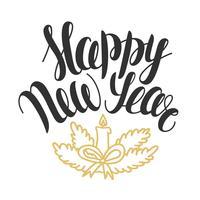 Ilustração vetorial com mão desenhada texto feliz ano novo. Letras de Natal. Design de cartão