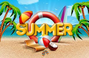Vector a ilustração das férias de verão com cinto de salvação e palmeiras exóticas no fundo da paisagem do oceano. Coco, bola de praia e guarda-sol