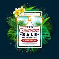 Projeto da venda do verão com óculos de sol e folhas de palmeira exóticas no fundo tropical da ilha. Oferta especial de ilustração vetorial com elementos de férias