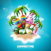 Vector a ilustração do feriado do verão com gelado, flip-flop e palmeiras tropicais no fundo do azul de oceano. Carta de tipografia, colete salva-vidas, bola de praia e prancha de surf na Paradise Island