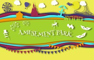 Parque de diversões de arte papel estilo com carrossel com passeios
