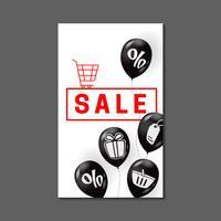 Projeto de banner de venda com balões de ar e símbolos de compras