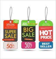 Tags de venda coleção moderna colorida