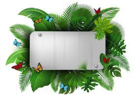 Sinal de cromo com espaço de texto de folhas tropicais e borboletas. Apropriado para o conceito de natureza, férias e férias de verão.