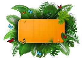 Sinal de ouro com espaço de texto de folhas tropicais e borboletas. Apropriado para o conceito de natureza, férias e férias de verão