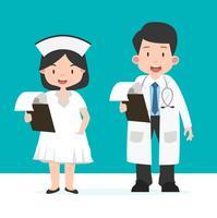 Enfermeira e médico com área de transferência