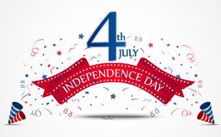 Celebração do dia da independência com confete vetor