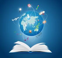 Livros com o mundo da ciência vetor