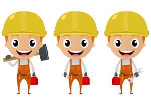 personagem de desenho animado do trabalhador da construção civil vetor