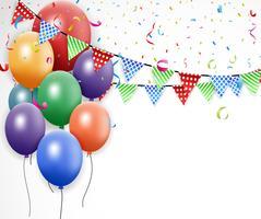 Design de aniversário com balão e confete vetor
