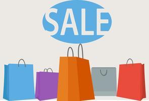 Fundo colorido sacos de compras vetor