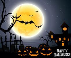 Festa de Halloween na lua cheia vetor