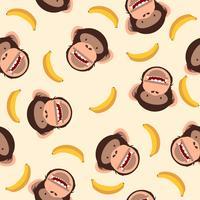 Cabeça de chimpanzé bonito com padrão de banana vetor