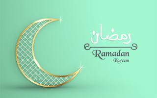 Modelo para Ramadan Kareem com cor verde e ouro. O projeto da ilustração do vetor 3D no papel cortou e craft para o cartão islâmico, convite, capa do livro, folheto, bandeira da Web, propaganda.