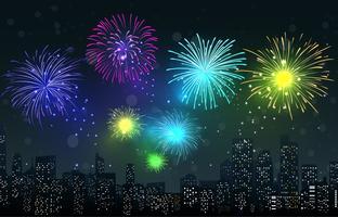 Fogos de artifício na cena da cidade à noite vetor