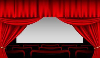 Interior do palco com cortinas vermelhas e assentos