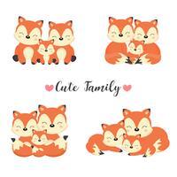 Família animal feliz. Pai, mãe, bebê raposas dos desenhos animados.