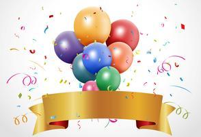 Celebração de aniversário colorida com balão e fita vetor