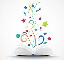 Livro aberto .abstract com estrela colorida e onda vetor