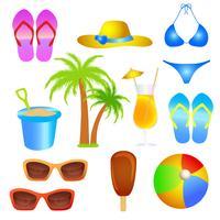 conjunto de objeto de praia de férias de verão vetor