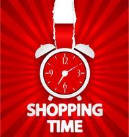 Design de cartaz de compras tempo com despertador vetor