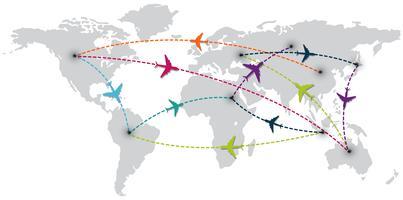 viagem pelo mundo com mapa e aviões vetor