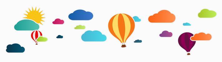 sol e nuvens com balão de ar quente vetor