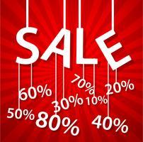 Cartaz de venda com desconto percentual vetor